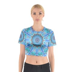 Sapphire Ice Flame, Light Bright Crystal Wheel Cotton Crop Top