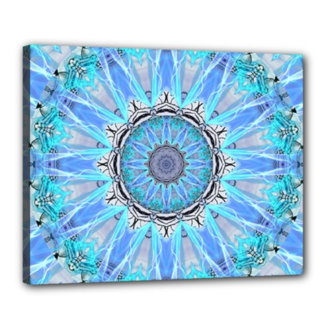 Sapphire Ice Flame, Light Bright Crystal Wheel Canvas 20  X 16  by DianeClancy