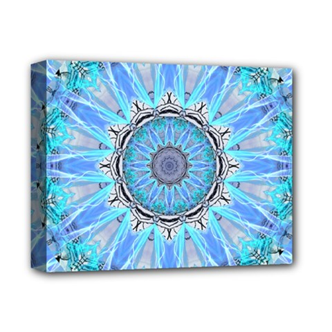 Sapphire Ice Flame, Light Bright Crystal Wheel Deluxe Canvas 14  X 11  by DianeClancy