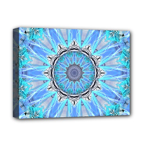Sapphire Ice Flame, Light Bright Crystal Wheel Deluxe Canvas 16  X 12   by DianeClancy