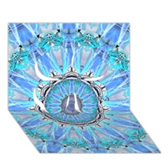 Sapphire Ice Flame, Light Bright Crystal Wheel Clover 3d Greeting Card (7x5)  by DianeClancy