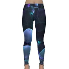 The Music Of My Goddess, Abstract Cyan Mystery Planet Yoga Leggings by DianeClancy