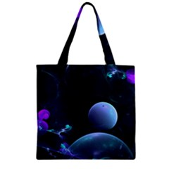 The Music Of My Goddess, Abstract Cyan Mystery Planet Zipper Grocery Tote Bag by DianeClancy