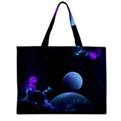 The Music Of My Goddess, Abstract Cyan Mystery Planet Zipper Mini Tote Bag by DianeClancy
