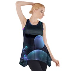 The Music Of My Goddess, Abstract Cyan Mystery Planet Side Drop Tank Tunic by DianeClancy
