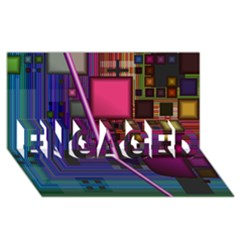 Jewel City, Radiant Rainbow Abstract Urban Engaged 3d Greeting Card (8x4)  by DianeClancy