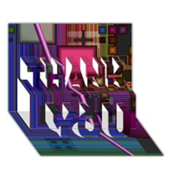 Jewel City, Radiant Rainbow Abstract Urban Thank You 3d Greeting Card (7x5)  by DianeClancy