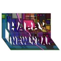 Jewel City, Radiant Rainbow Abstract Urban Happy New Year 3d Greeting Card (8x4)  by DianeClancy