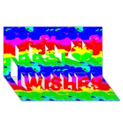 Colorful Digital Abstract  Best Wish 3d Greeting Card (8x4)
