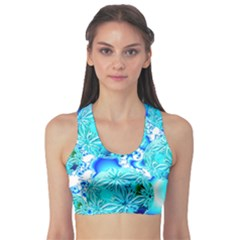 Blue Ice Crystals, Abstract Aqua Azure Cyan Sports Bra by DianeClancy