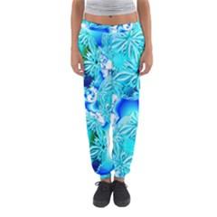 Blue Ice Crystals, Abstract Aqua Azure Cyan Women s Jogger Sweatpants