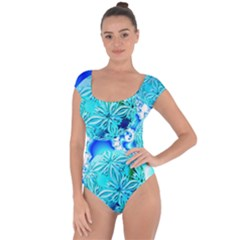 Blue Ice Crystals, Abstract Aqua Azure Cyan Short Sleeve Leotard (ladies) by DianeClancy