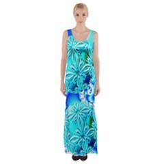 Blue Ice Crystals, Abstract Aqua Azure Cyan Maxi Thigh Split Dress by DianeClancy