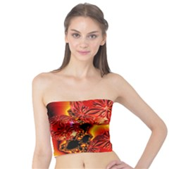 Flame Delights, Abstract Red Orange Tube Top by DianeClancy