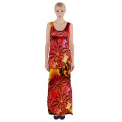 Flame Delights, Abstract Red Orange Maxi Thigh Split Dress by DianeClancy