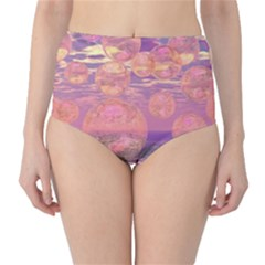 Glorious Skies, Abstract Pink And Yellow Dream High Waist Bikini Bottoms by DianeClancy