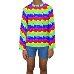 Colorful Abstract Collage Print Kid s Long Sleeve Swimwear by dflcprintsclothing