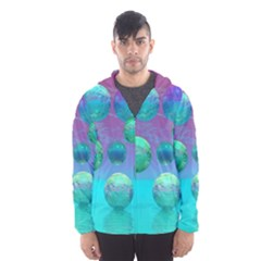 Ocean Dreams, Abstract Aqua Violet Ocean Fantasy Hooded Wind Breaker (Men) by DianeClancy