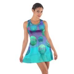 Ocean Dreams, Abstract Aqua Violet Ocean Fantasy Racerback Dresses by DianeClancy