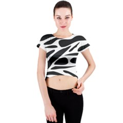 Zebra Stripes Skin Pattern Black And White Crew Neck Crop Top by CircusValleyMall