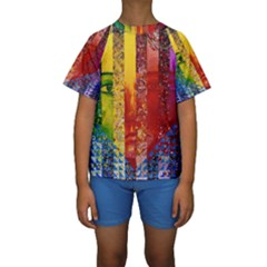 Conundrum I, Abstract Rainbow Woman Goddess  Kid s Short Sleeve Swimwear by DianeClancy