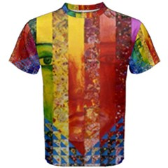 Conundrum I, Abstract Rainbow Woman Goddess  Men s Cotton Tee by DianeClancy