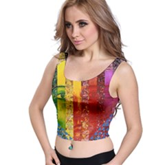 Conundrum I, Abstract Rainbow Woman Goddess  Crop Top by DianeClancy