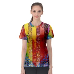 Conundrum I, Abstract Rainbow Woman Goddess  Women s Sport Mesh Tee by DianeClancy