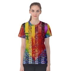 Conundrum I, Abstract Rainbow Woman Goddess  Women s Cotton Tee by DianeClancy