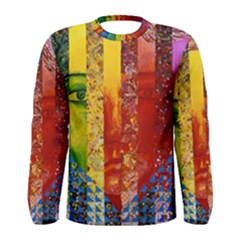 Conundrum I, Abstract Rainbow Woman Goddess  Men s Long Sleeve Tee by DianeClancy