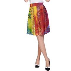 Conundrum I, Abstract Rainbow Woman Goddess  A Line Skirt by DianeClancy