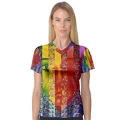 Conundrum I, Abstract Rainbow Woman Goddess  Women s V Neck Sport Mesh Tee by DianeClancy