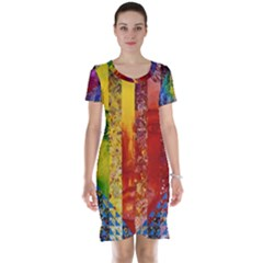 Conundrum I, Abstract Rainbow Woman Goddess  Short Sleeve Nightdress by DianeClancy