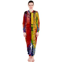Conundrum I, Abstract Rainbow Woman Goddess  Onepiece Jumpsuit (ladies)  by DianeClancy