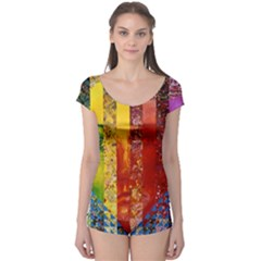 Conundrum I, Abstract Rainbow Woman Goddess  Boyleg Leotard (ladies) by DianeClancy