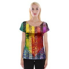 Conundrum I, Abstract Rainbow Woman Goddess  Women s Cap Sleeve Top by DianeClancy