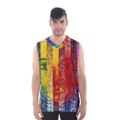 Conundrum I, Abstract Rainbow Woman Goddess  Men s Basketball Tank Top by DianeClancy
