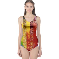 Conundrum I, Abstract Rainbow Woman Goddess  One Piece Swimsuit by DianeClancy