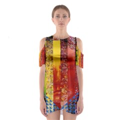 Conundrum I, Abstract Rainbow Woman Goddess  Cutout Shoulder Dress by DianeClancy