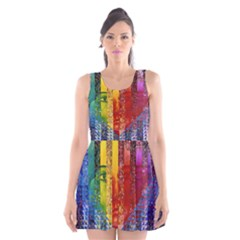 Conundrum I, Abstract Rainbow Woman Goddess  Scoop Neck Skater Dress by DianeClancy