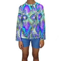 Abstract Peacock Celebration, Golden Violet Teal Kid s Long Sleeve Swimwear by DianeClancy