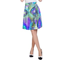 Abstract Peacock Celebration, Golden Violet Teal A Line Skirt by DianeClancy