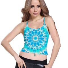Blue Ice Goddess, Abstract Crystals Of Love Spaghetti Strap Bra Top