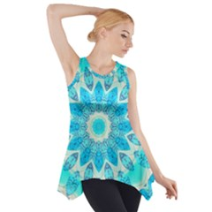Blue Ice Goddess, Abstract Crystals Of Love Side Drop Tank Tunic by DianeClancy