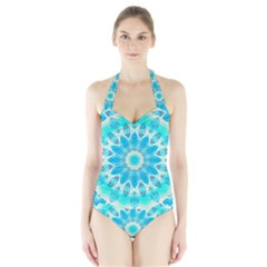 Blue Ice Goddess, Abstract Crystals Of Love Women s Halter One Piece Swimsuit by DianeClancy