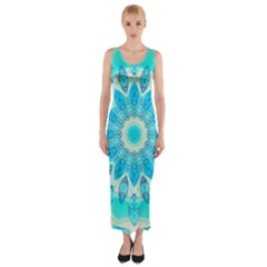 Blue Ice Goddess, Abstract Crystals Of Love Fitted Maxi Dress