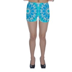 Blue Ice Goddess, Abstract Crystals Of Love Skinny Shorts