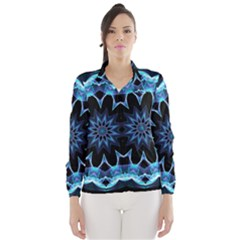 Crystal Star, Abstract Glowing Blue Mandala Wind Breaker (women) by DianeClancy