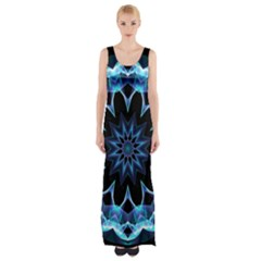 Crystal Star, Abstract Glowing Blue Mandala Maxi Thigh Split Dress by DianeClancy