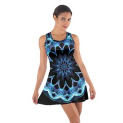 Crystal Star, Abstract Glowing Blue Mandala Racerback Dresses by DianeClancy